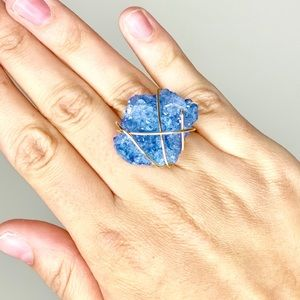 🎉5 for $25🎉 Blue Druzy Gold Ring
